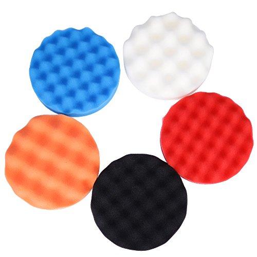QUIOSS 6 Car Polishing Sponge Pads Waffle Foam Pad Buffing Set 153mm Pack of 5 pcs