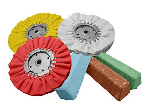 Complete 6pc Kit Buffing Wheel Polishing Aluminum Brown Blue Red Compound Set