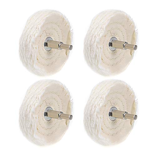 uxcell 3-Inch Buffing Polishing Pad Wheel Cotton with 14-inch Handle for Manifold Aluminum Stainless Steel Chrome 4 Pcs