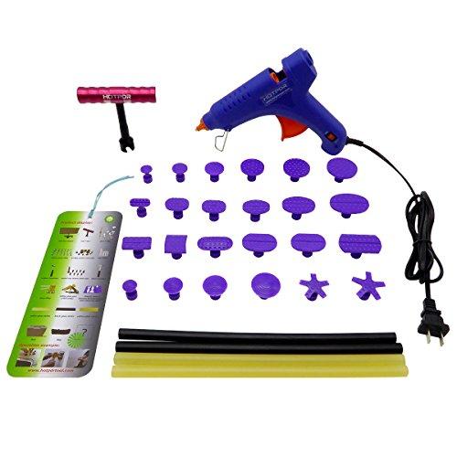 HOTPDR Dent Repair Dent Puller Kit Mini T-Bar Silde Hammer Pdr Tabs Glue Gun and Pdr Glue Sticks Pdr Kit for Car Dent Repair 30 Pcs
