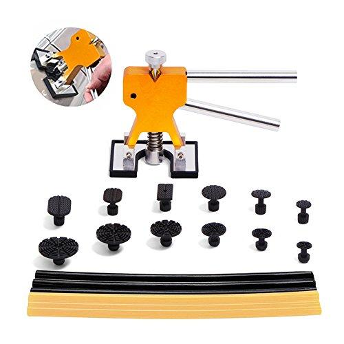 PDR Tools Paintless Dent Repair ToolsTongYu 19pcs DIY Dent Puller Set Golden Dent Lifter PDR Glue Sticks PDR Pull Tabs for Car Dent Repair