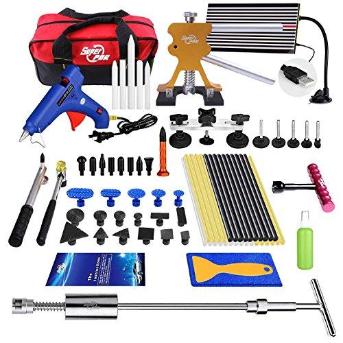 77Pcs Pop A Dent Car Body Dent Repair Removal Tools AUTOPDR Auto Car Body Paintless Removal Kits Automotive Dent Puller Set Hail Slide Hammer Upholstery Trim Tools Glue Gun Sticks Body Shop Tools