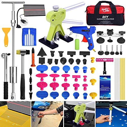 Super PDR 68Pcs Car Auto Body Paintless Dent Repair Tool Kits For Car Hail Damage And Door Dings Repair LED Dent Puller Set Glue Gun Rubber Slide Hammer With bag