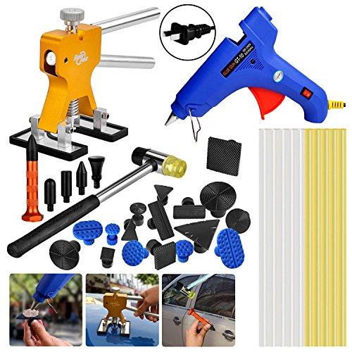 AUTOPDR 35Pcs Auto Body Paintless Dent Removal Tools Kits Pops a Dent Bridge Dent Puller Kit with Hot Melt Glue Gun Sticks for Hail Damage Car Body Dent Repair