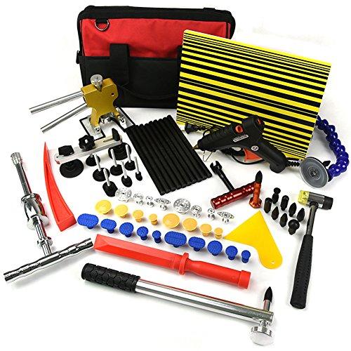 Wcaro 58pcs Automotive Auto Paintless Dent Repair Tools Kit Glue Dent Puller Kit Dent Removel Kit Slide Hammer PDR Hail Repair Tool Car Dent Puller Tool with Glue Puller TabsTap DownLine Board
