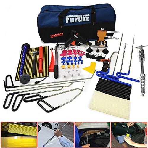 Car Dent Remover Furuix Paintless Dent Repair Kit PDR Rods Dent Puller Dent Lifter PDR Light Slide Hammer PDR Glue Kit