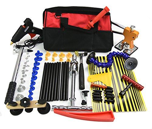 Furuix 58pcs Paintless Dent Repair Kit Pdr Car Dent Puller Kit Slide Hammer Kits Hail Repair Kit Medium Dent Repair PDR Glue Puller Kit with Tab Lifter G Tab Lifter Glue Gun Mini Lifter for Pop a Dent