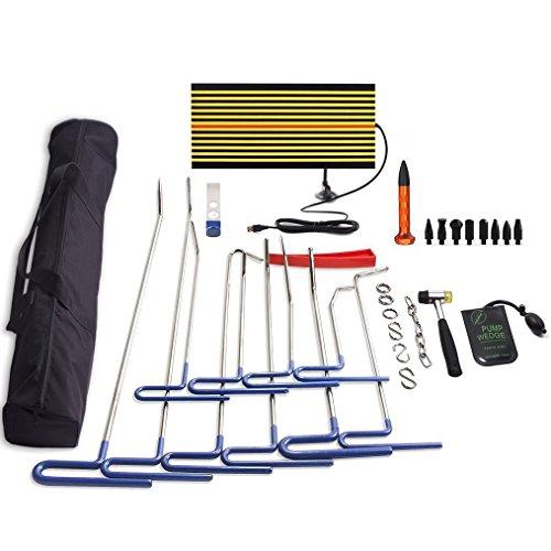 PDR Tools32 Pcs PDR Rods Kit Set Paintless Dent Repair Rods LED Line Board Air Pump Wedge Body Hammer Tap Down for Car Dent Repair