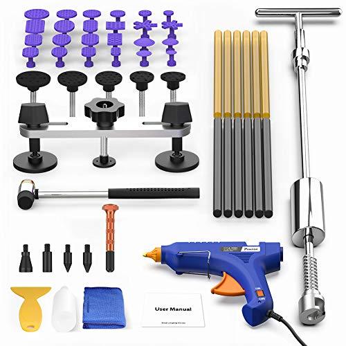 POWPDR Paintless Dent Repair Tool - Car Dent Removal Kit with Slide Hammer T-bar Bridge Dent Puller 100W Glue Gun for Car Dent Remover
