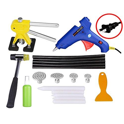 AUTOPDR 19Pcs DIY Auto Mechanic Body Repair PDR Dent Lifter Glue Gun Hammer Puller Tabs Removal Kit