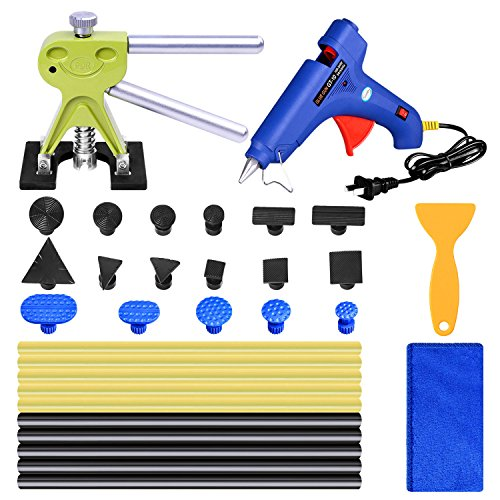 Auto Body Paintless Dent Repair Removal Tool Kits AUTOPDR Dent Lifter Glue Sticks Hot Melt Glue Gun PDR Tools with 17pcs DIY Dent Pull Tabs