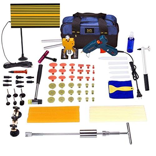 Zafit 89pcs Auto Paintless Dent Removal Tools PDR Tools Dent Repair Tools LDE Line Board Rubber Hammer Golden Dent Lifter Glue Gun Glue Sticks