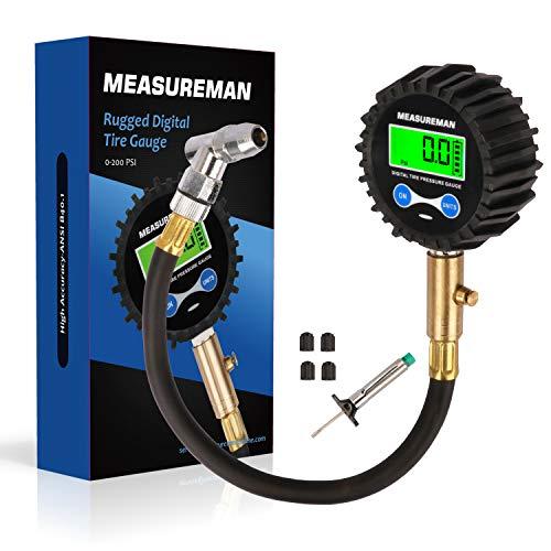 Measureman 2-12 Precise Digital Tire Pressure Gauge with Back LCD Light Tire Tread Depth Gauge Test Kit - 200 PSI Pressure Hold and Release Heavy Duty Chuck Flexible Hose