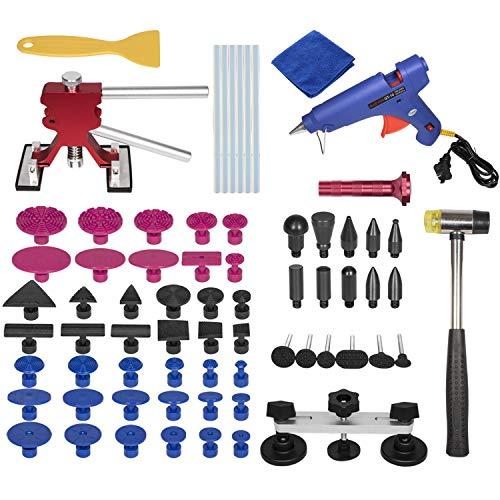 E-cowlboy 69 Pcs Car Body Dent Repair Puller Kit for Car Hail Damage and Door Dings Repair-Dent Lifter Hot Melt Glue Gun Glue Sticks Repair Kit