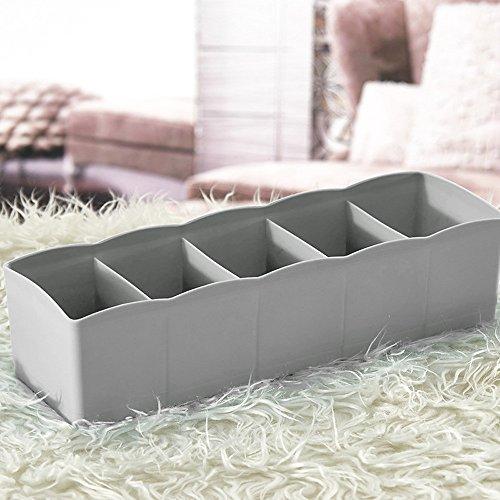 Gessppo 5 Cells Plastic Organizer Storage Box Tie Bra Socks Drawer Cosmetic Divider Space Saver Storage Excellent Solution for Space saver for Women for Home Kitchen