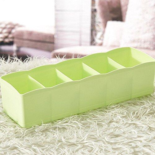 Gessppo Almacenamiento de esquina 5 Cells Plastic Organizer Storage Box Tie Bra Socks Drawer Cosmetic Divider Tidy