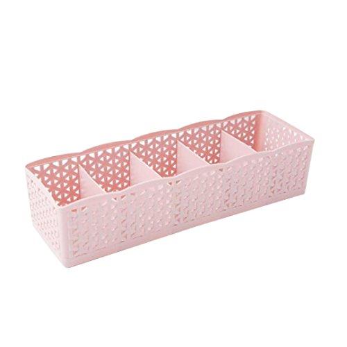 LINGERY 5 Cells Plastic Organizer Storage Box Tie Bra Socks Drawer Cosmetic Divider Pink
