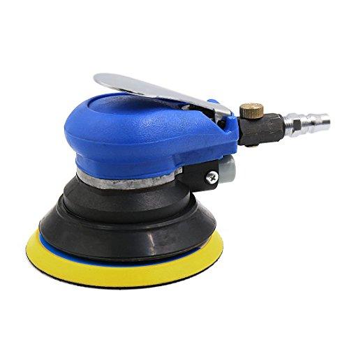 uxcell Black Blue Car Pneumatic Polishing Device Orbital Sander 5 inch Dia Pad w Wrench