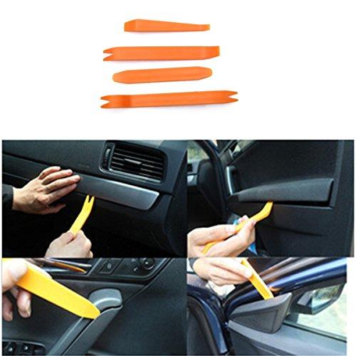 Iztoss 4Pcs Auto Door Clip Panel Trim Removal Tool Kits for Car Dash Radio Audio Installer Pry Tool