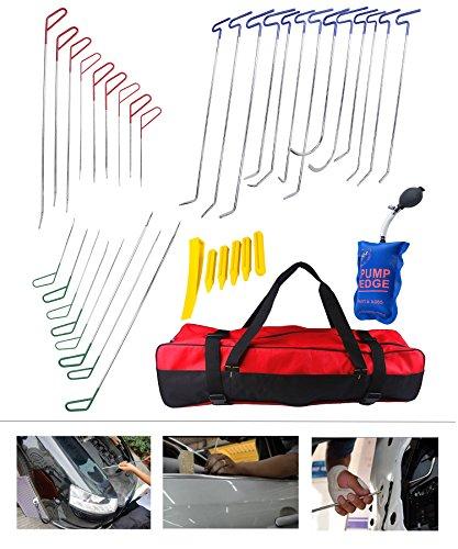 AUTOPDR DIY Car Body PDR Rod Dent Removal Door Dings Hail Repair Tool Kit Set Air Wedge 38pcs
