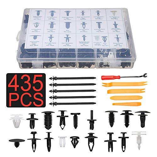 430pcs Car Plastic Rivets Set  5pcs Fastener Removal Tool Set, Plastic Clip Car Body Retainer Push Pin Trim Rivet Panel Mould Tool Multicolor Free