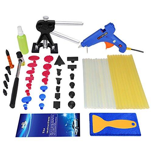Super PDR 52Pcs Auto Body Dent Removal Repair Tool Kits Dent Lifter -Dent Hammer-100W Hot Glue Gun glue Gun Sticks -Pro Tabs