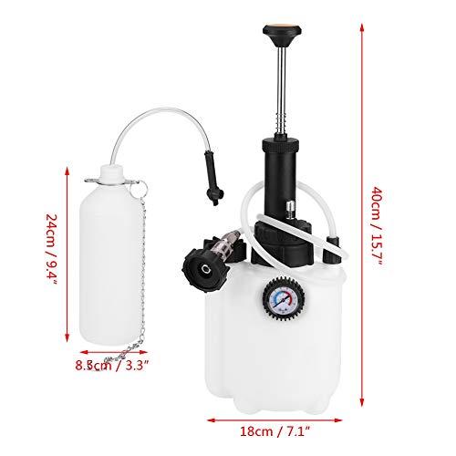 Qiilu Manual Brake Bleeder 3L Capacity Manual Brake Clutch Fluid Bleeder Bleeding Tool with Universal Adapter