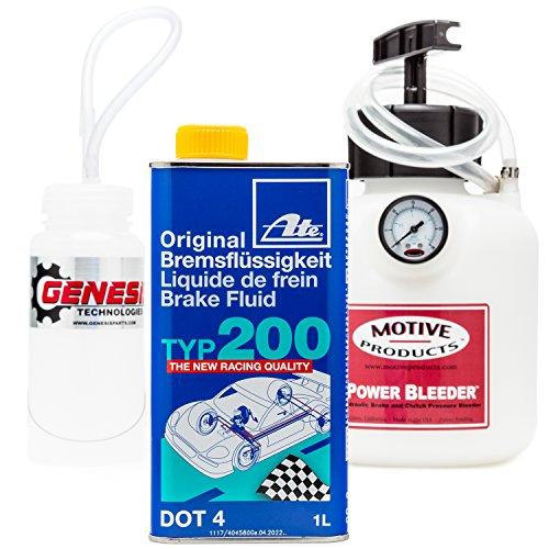Genesis Technologies Brake Bleeding Kit with ATE Type 200 Brake Fluid Bleeder Bottle and Motive Power Bleeder 0100
