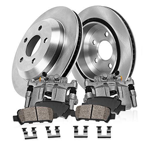 CCK02606 2 REAR Original Remanufactured Calipers  2 OE Rotors  4 Low Dust Ceramic Brake Pads