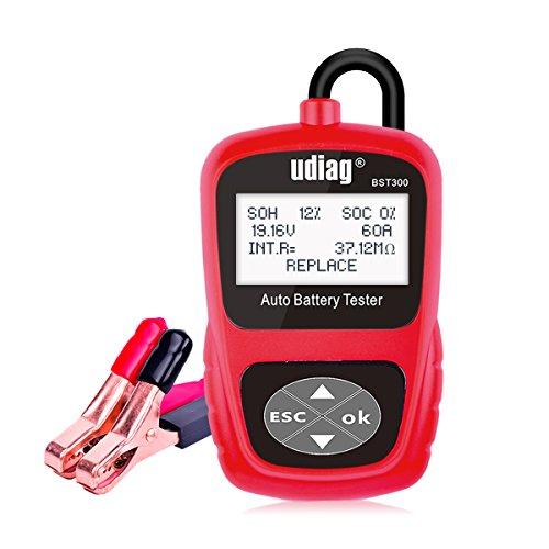 Car Battery Tester Udiag BST300 Professional 12V Automotive Load Battery Tester Digital Analyzer for Battery Test Cranking Test and Charging Test for Car Truck Red