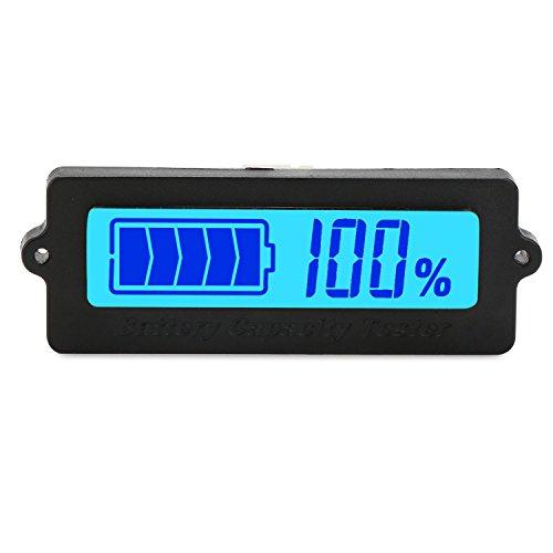 DROK Blue Back-light LCD Battery Capacity Monitor DC 8-63V Digital Battery Tester Automotive Lithium ion Battery Electric Quantity Detector 12V24V36V48V Lead Acid Battery Status Indicator
