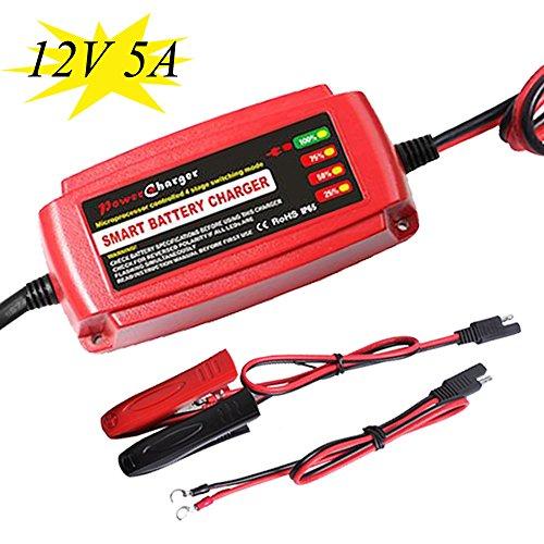 12Volt 5Amp Car Battery Charger For AGM GEL Sealed Lead acid VRLA RV Marine Golf Cart Motorcycle Batteries Red