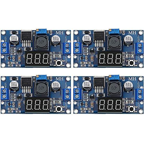 4 Pieces Adjustable LM2596S DC-DC Buck Converter Step-Down Voltage Regulator Power Module 36V 24V 12V to 5V 2A Voltage Stabilizer with Digital Voltmeter Display