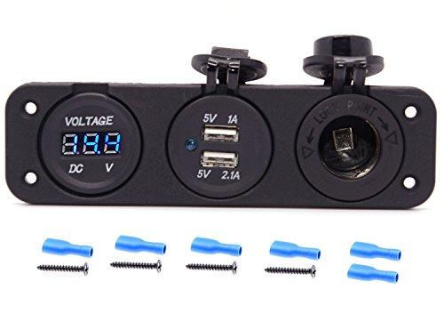 Cllena Triple Function Dual USB Charger  Blue LED Voltmeter  12V Outlet Socket Panel Jack Marine for Digital Devices Mobile Phone Tablet
