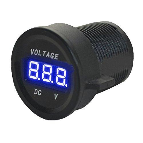 ESUPPORT DC 12V 24V Waterproof Car Motorcycle Blue LED Light Digital Display Voltmeter Volt Monitor Gauge Meter