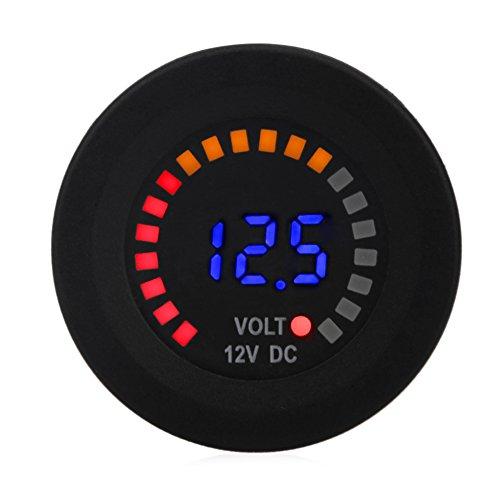 WATERWICH Waterproof 12V DC Voltmeter Color LED Digital Display Volt Meter Voltage Meter Scale Gauge Battery Tester for Marine Car Motorcycle Truck Boat RV