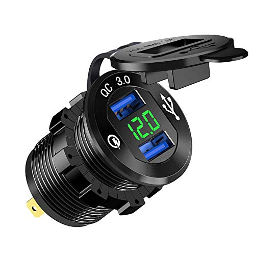 ZYTC Quick Charge 30 Car Charger 12V24V 36W Aluminum Black Waterproof Dual QC30 USB Fast Charger Socket Power Outlet with Green LED Digital Voltmeter for Marine Boat Motorcycle Truck Golf Cart