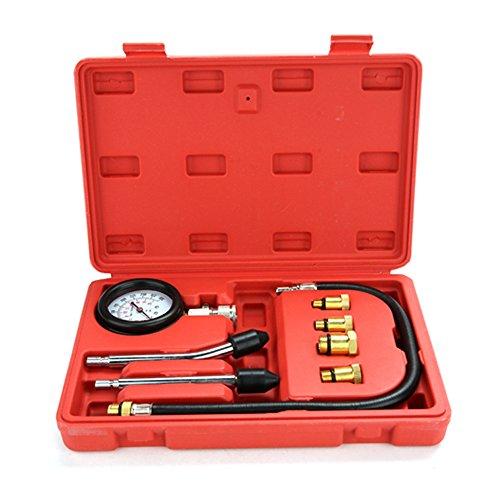 CooCheer Cylinder Compression GaugePetrol Engine Pressure TesterProfessional Automotive Pressure Gauges Tool-8 PCS kit
