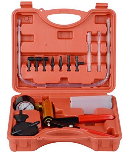 DAYUAN Automotive Hand Held Vacuum Pump Brake Fluid Bleeder Tester Set Vacuum Gauge Tool Kit with Adapters Case Metal Handle