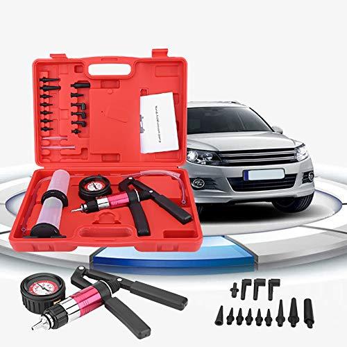 Qiilu 2 in 1 Brake Bleeder Kit Hand held Vacuum Pump Test Set with Storage Case Adapters One-Man Brake and Clutch Bleeding System