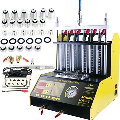 AUTOOL CT200 Petrol 6 Cylinder Car Motorcycle Fuel Injector Ultrasonic Cleaner Tester Fuel Injection LeakageBlocking Testing Machine Tool Kit 110V220V CT200 Unit