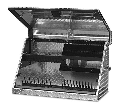 Montezuma Portable Tool Box - 30 x 15 Truck Bed Storage Chest with Diamond Plate Aluminum Construction Locking Lid - ME300AL
