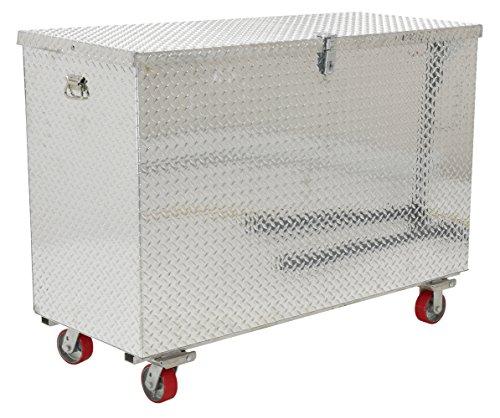 Vestil model APTS-3660-C aluminum treadplate portable tool box with casters 2500 lb capacity 36 x 60