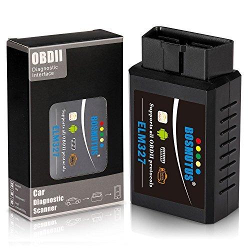 Bosmutus OBD2 Bluetooth ELM327 V15 OBD 2 Scanner Code Reader EOBDOBDii Car Diagnostic Tool More Than 3000 Database Code - Bluetooth for AndroidWindows