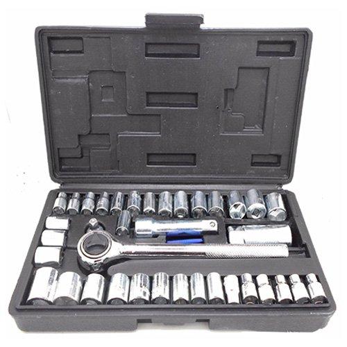 Simply Silver - 40-Piece Socket Tool Set Ratchet Set METRICSAE 14 38 Drive w Case