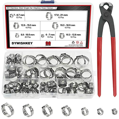 DYWISHKEY 304 Stainless Steel Single Ear Stepless Hose Clamps with Pincers Kit 90 PCS