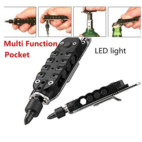 Fabal Pocket Multi Function Tools Set LED Light Keychain Pliers Screwdriver Opener Black