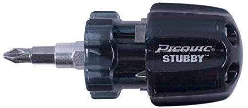 Picquic 91102B Stubby 6 Multi Bit Screwdriver Bulk Black