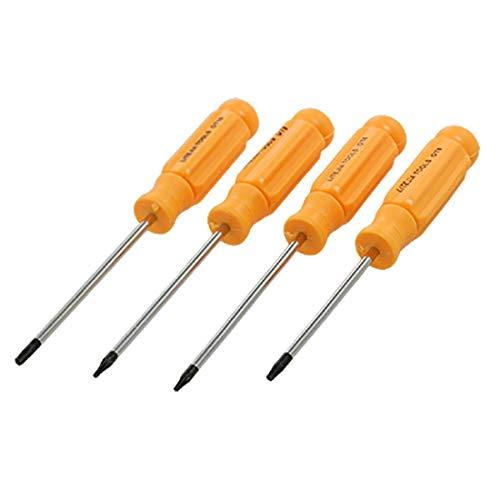 4 Pcs Yellow Handle Magnetic Tip T5 T6 T8 T10 Torx Screwdrivers