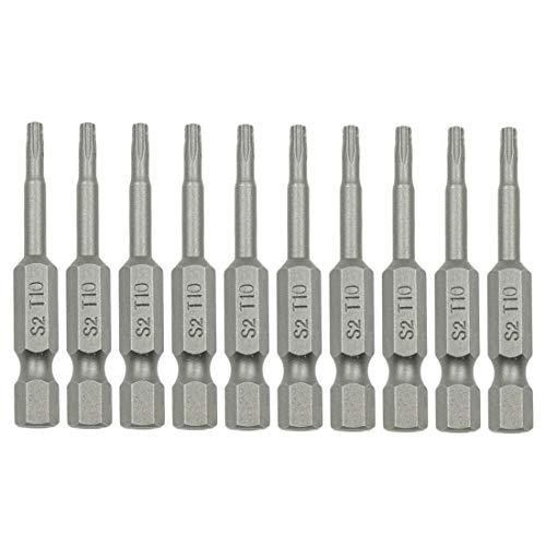 Sydien 10 Pcs 14 Hex Shank T10 Torx Head Screwdriver Bits50mm2inch Length